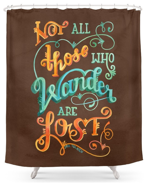 Elegant Society6 Not All Those Who Wander Are Lost Shower Curtain Contemporary  Shower Curtains