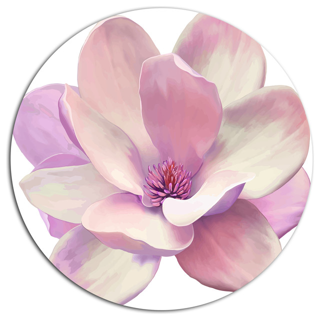 Cute Light Pink Magnolia Flower Flowers Large Disc Metal Wall Art