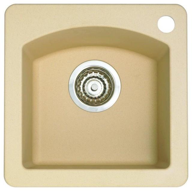 Diamond Dual Mount Composite 15x15x8 1-Hole Single Bowl Bar Sink, Biscotti