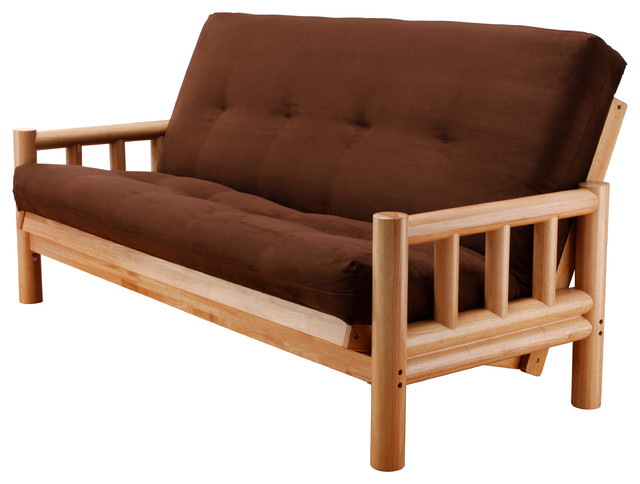 lodge futon frame in natural wood with suede chocolate innerspring mattress contemporary futons wood frame futon with mattress   roselawnlutheran  rh   roselawnlutheran org