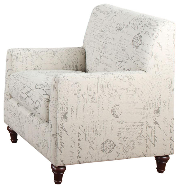 oatmeal linen fabric norah accent arm chair with french script