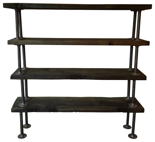 ... Wood Bookcase with Iron Pipe Legs industrial-display-and-wall-shelves