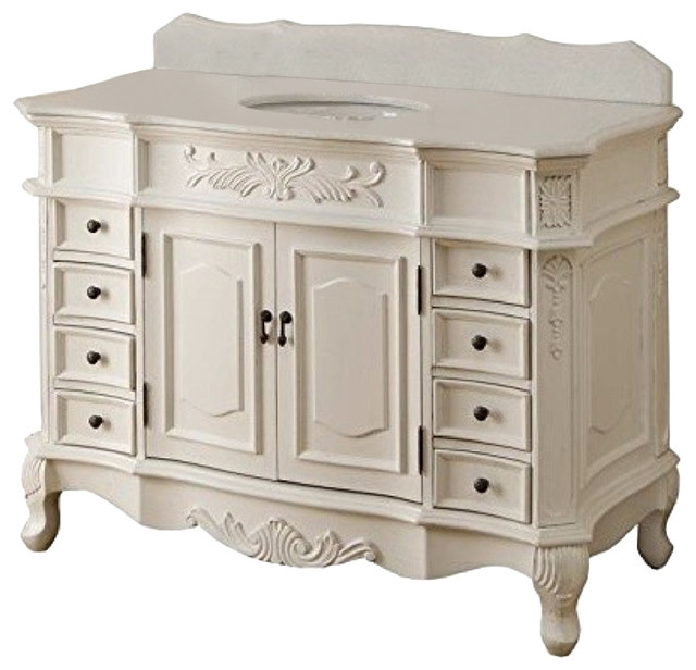 Morton Bathroom Vanity, Antique White, 48