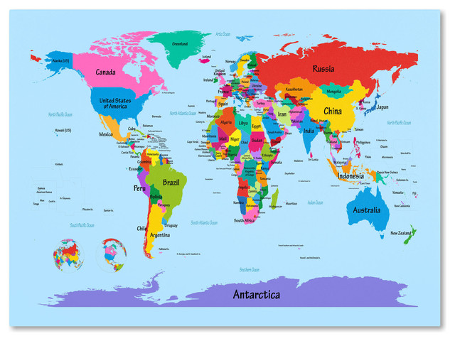 Childrens World Map Canvas Art by Michael Tompsett  Contemporary