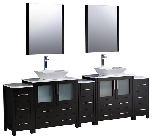 "Vessel Sink Bathroom Vanities torino 96"" espresso double sink bathroom vanity, 3 side cabinets"