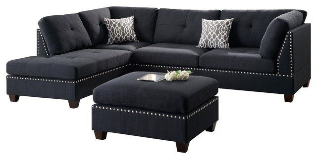 Modern Contemporary Sectional Sofa And Ottoman Set Black
