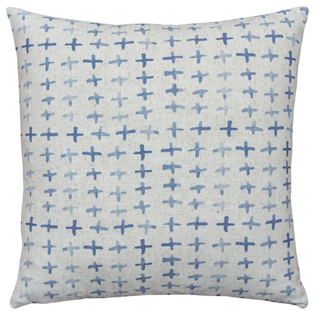 Batik Crosses Linen Throw Pillow