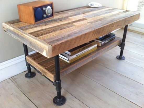 Reclaimed Wood Coffee Table Industrial Galvanized Pipe Reclaimed
