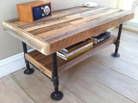 Rustic Industrial Reclaimed Wood u0026 Pipe Coffee Table
