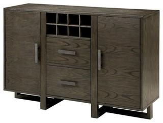 Furniture of America Eris I Wine Rack Buffet, Weathered Gray
