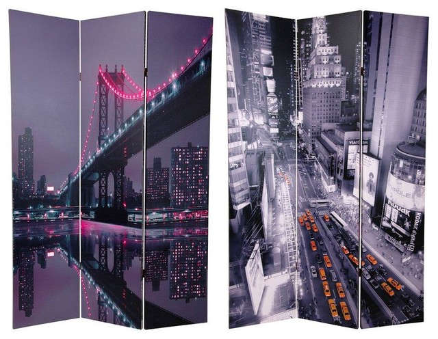 6 Tall New York State of Mind Room Divider Eclectic Screens And
