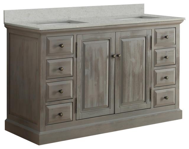 Infurniture 60 Solid Wood Sink Vanity With Arctic Pearl Quartz Top, No Faucet.