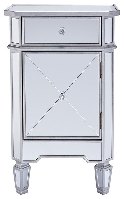 The Urban Port Single Drawer Mirrored Accent Cabinet, Silver, Clear.