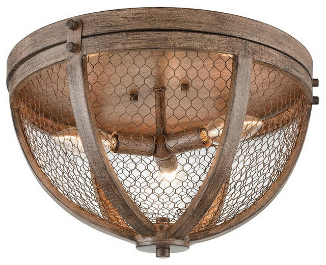 Vintage Flush Mount 3 Light Wood Grain Ceiling Farmhouse Lighting By Eco