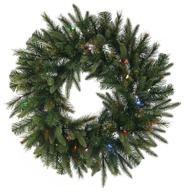 30 pre lit battery operated mixed pine cashmere christmas wreath multi lights traditional - Christmas Wreaths With Lights