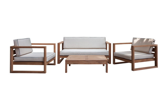 Maldives Teak Wood Outdoor Deep Seating Patio Set: Sofa, 2 Chairs, Coffee  Table