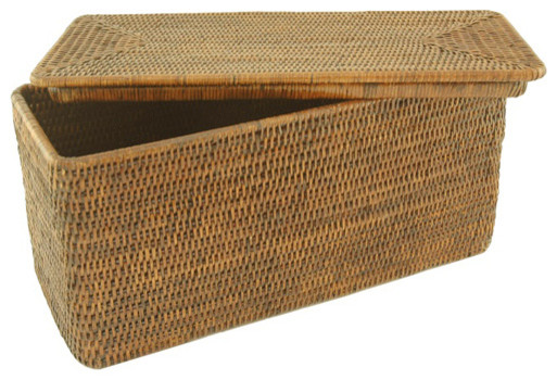 Rattan storage basket with lid reviews houzz - Modern hamper with lid ...