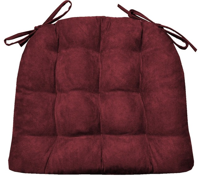 Micro Suede Claret Red Dining Chair Pads Standard