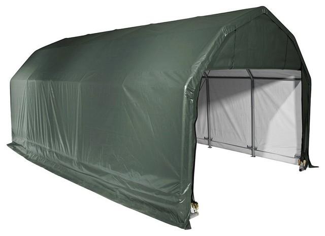 Barn Shelter Green Cover, 12&x27;x28&x27;x11&x27;.