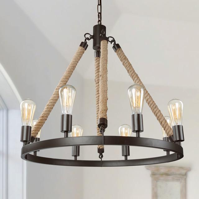 Transitional 8-Light Rustic Pendant Lighting Fixtures