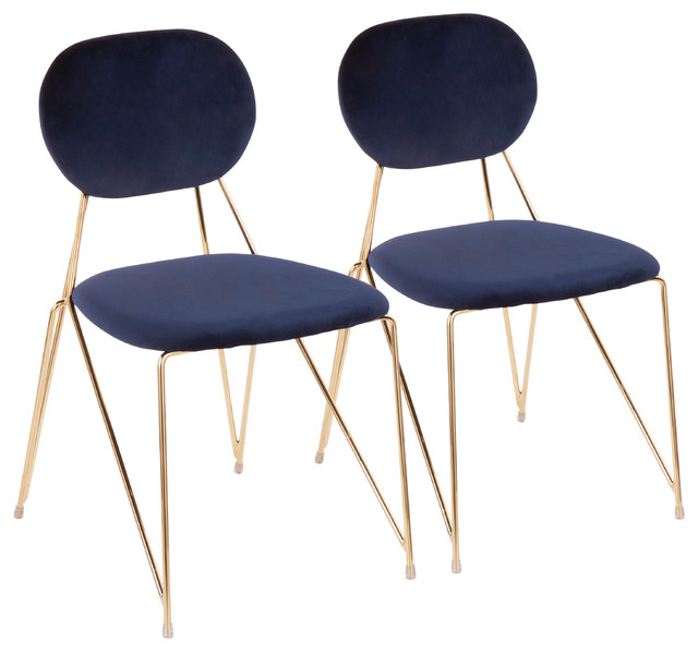 Lumisource Gwen Chairs, Gold Metal With Blue Velvet, Set of 2