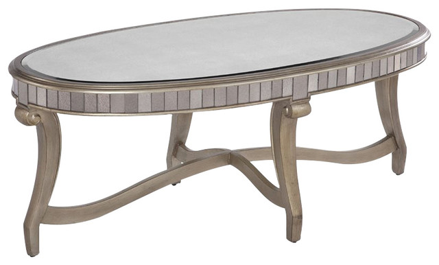 Bassett Mirror Company Hollywood Glam Celine Oval Cocktail Table Traditional  Coffee Tables