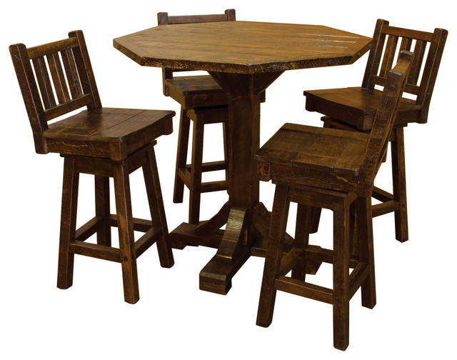 Rustic Barn Wood Style Timber Peg 5 Piece Bistro Set