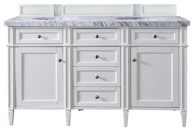 """Brittany 60"""" Cottage White Double Vanity, 3cm Arctic Fall Solid Surface Top."""