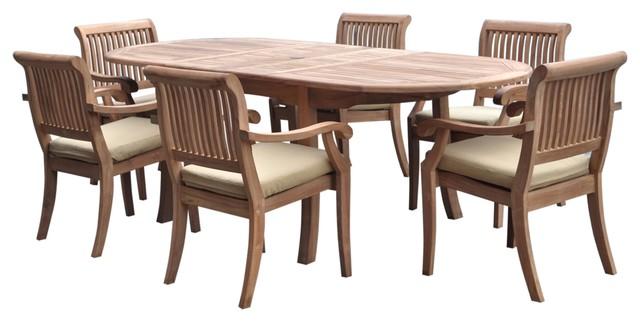 7 Piece Outdoor Teak Dining Set 94 Oval Ext Table 6 Arbor