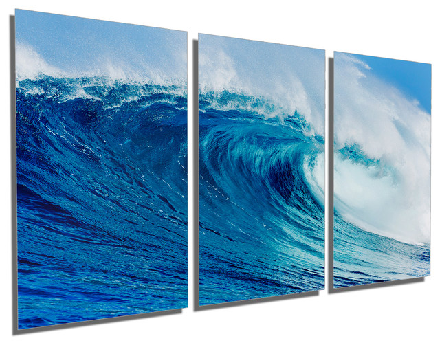 Triptych Wall Art blue ocean wave metal print wall art, 3 panel split, triptych wall