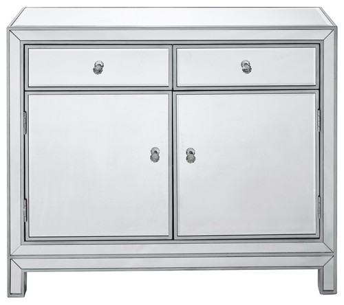 Elegant Reflexion 2 Drawer And 2 Door Nightstand, Silver Paint