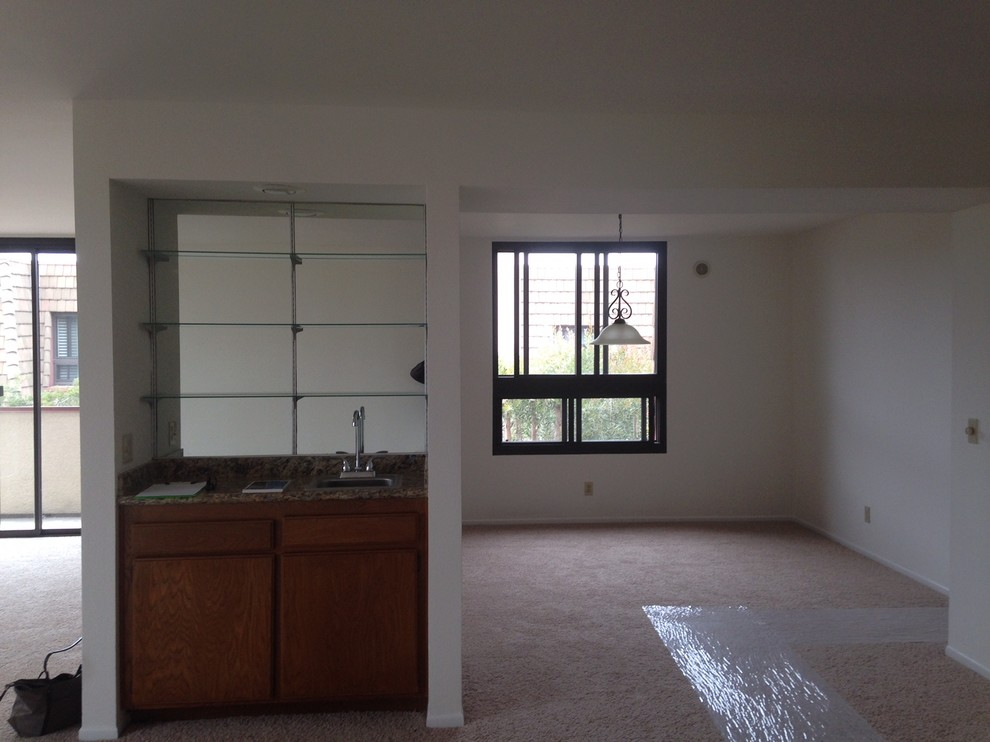 Original wet bar & dining area before demo into home office.