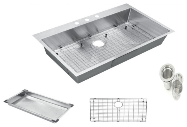 "Top-Mount/drop-In Stainless Single Bowl Kitchen Sink And Accessories, 30""x22""x9""."
