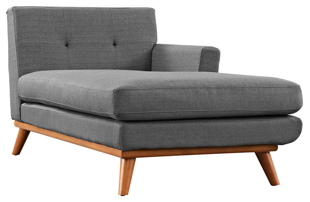 Modern Contemporary Right Arm Chaise Gray Fabric Midcentury Indoor