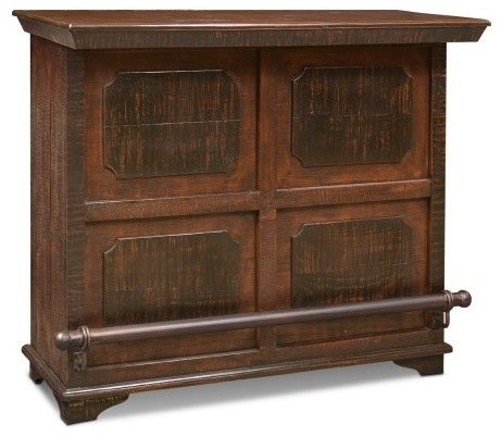 Addison Rustic Style Solid Wood Bar Table With Wine Cabinet Rustic Wine And  Part 92
