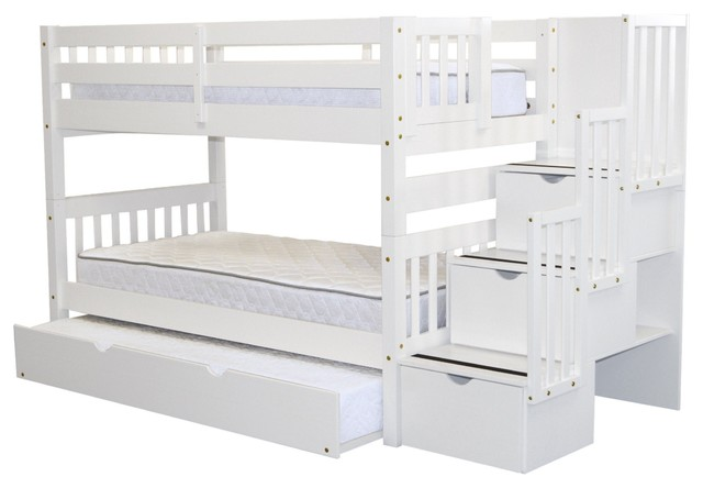 Bedz King Bunk Beds Twin Over Twin Stairway, 3 Step Drawers, Twin Trundle, White.