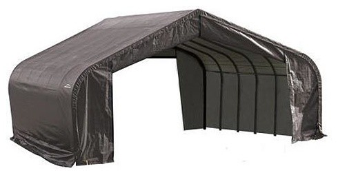 22x24x11 Peak Style Shelter With Gray Cover.