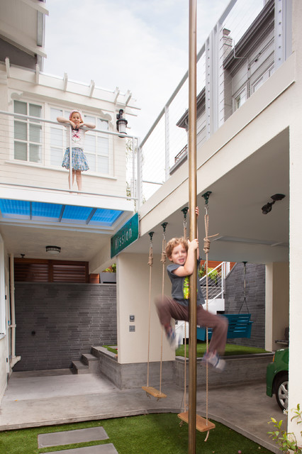 Kids Swings Amp Fire Pole Contemporary Kids San