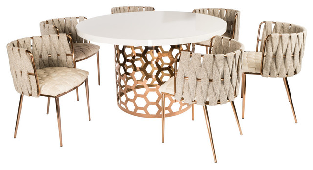 Laa Gold And White Round 54 Dining, Round Kitchen Table Set With 6 Chairs