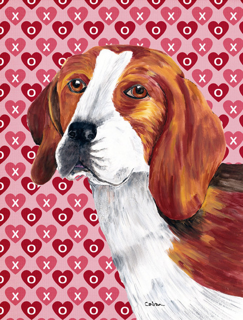 Beagle Hearts Love And Valentineu0027s Day Portrait Flag, Garden Size
