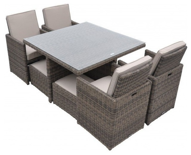 Rattan Cushioned Garden Patio Furniture Outdoor Dining Table Cube Set 9 Piece Tropical