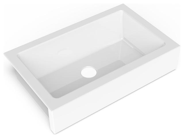 "Grace QuickFit Undermount Fireclay 33.85"" Bowl Kitchen Sink, Crisp White"
