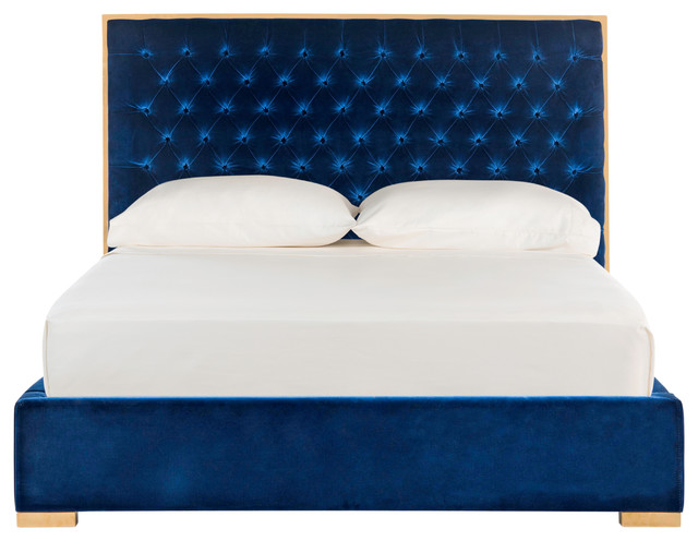Ordinaire Chester Tufted Velvet Bed, Giotto Navy, Queen