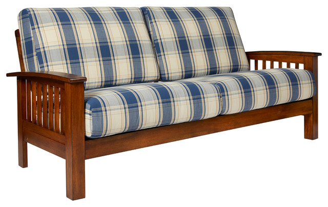 maison hill mission style sofa with exposed wood frame blue plaid contemporary sofas - Exposed Wood Frame Sofa