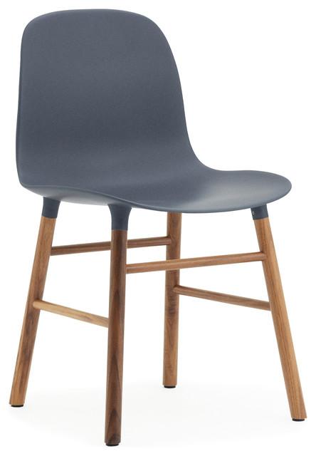 Form Chair, Wood Legs, Form Blue, Walnut.