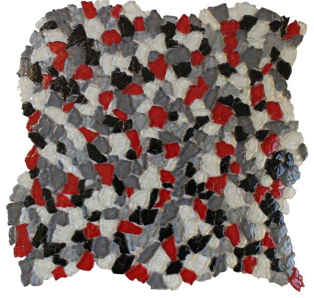 11 61 X11 61 Wall Flower Black White Red Gray Glass Mosaic Backsplash Tile