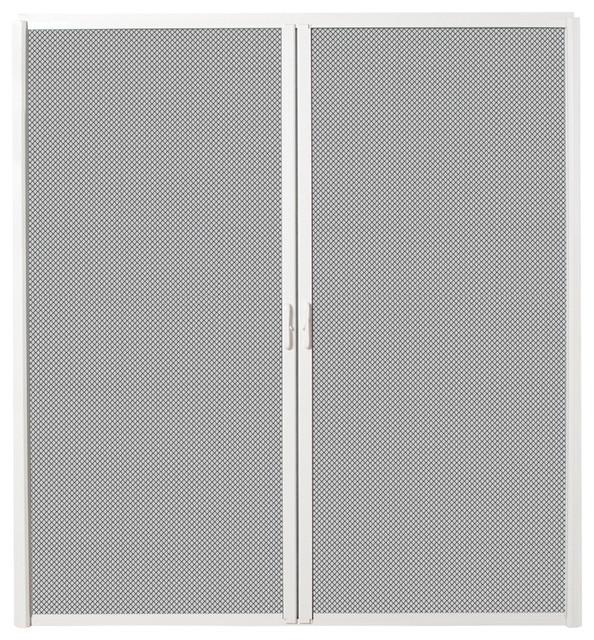 Inswing Retractable Double Screen Door, White Aluminum