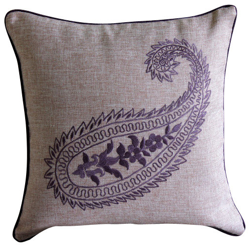 Traditional Throw Pillows : Purple Paisleys, Purple Burlap Decorative Pillowcase - Traditional - Decorative Pillows - by The ...