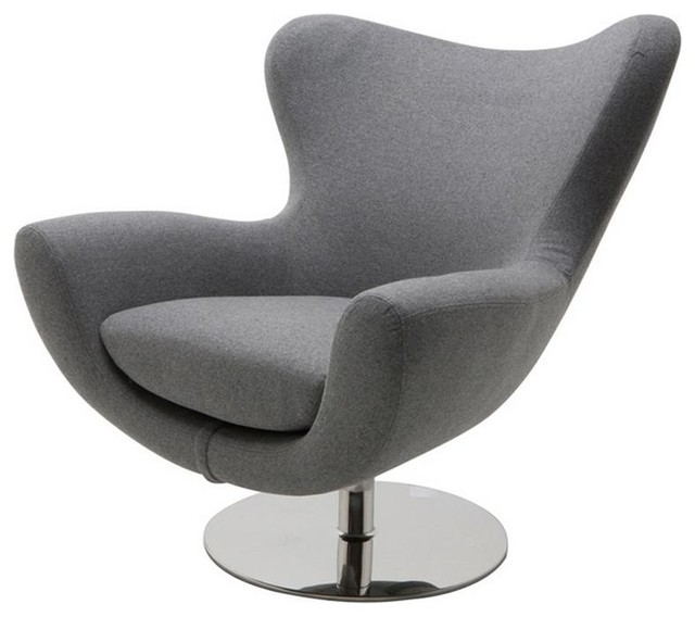 Comfortable Lounge Chair With High Polish Stainless Steel Swivel Base