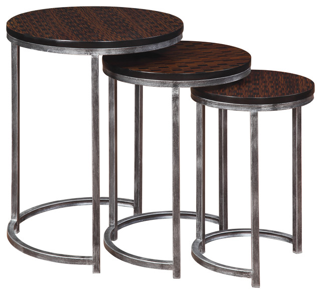 Brown Nesting Tables Set Of 3 Contemporary Coffee Table Sets